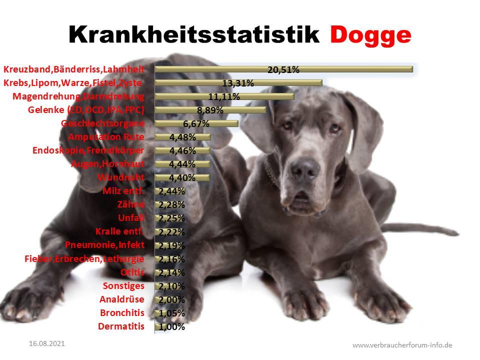 Statistik über die häufigsten Krankheiten bei der Dogge