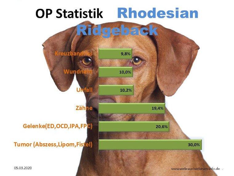 Statistik über die häufigsten Krankheiten beim Rhodesian Ridgeback